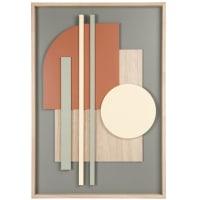 GRAVENDEEL - Cuadro abstracto beige, verde, amarillo y rojo 41x60 cm