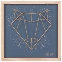 Cuadro zorro de metal dorado 30x30 Origami Fox