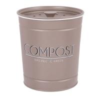 ALPHONSE - Cubo para compost de metal gris y negro Alt. 18