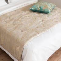SALMA - Cubrecamas de lino beige con estampado de follaje dorado 100x200