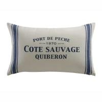 Cuscino bianco/blu in cotone 30x50 Côte Sauvage
