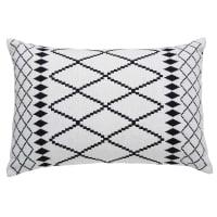 Cuscino bianco in cotone con motivi neri 40x60 cm Cora