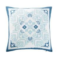 Cuscino da esterno bianco con motivi a piastrelle blu, 45x45 cm Nossa