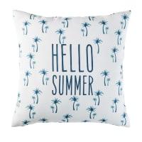 Cuscino da esterno bianco con stampa palme blu, 45x45 cm Palmar