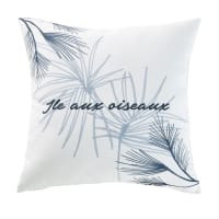 Cuscino da esterno bianco con stampa vegetale, 45x45 cm Cap Ferret