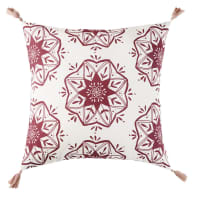Cuscino da esterno in cotone con stampa e pompon rosa, 45x45 cm Raja