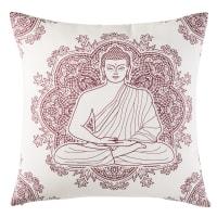 Cuscino da esterno in cotone écru con stampa rosa, 45x45 cm Yogi