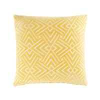 Cuscino giallo a motivi grafici bianchi, 45x45
