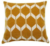 ASTON - Cuscino grafico giallo senape e bianco 45x45cm