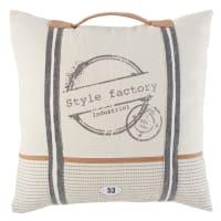Cuscino in cotone bianco stampato con maniglia, 45x45 cm Factory