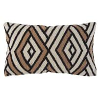 Cuscino in cotone écru motivi grafici neri e marroni, 30x60 cm Oko