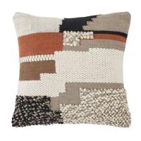 KIMIA - Cuscino in cotone intessuto e ricamato terracotta, écru e nero 45 cm x 45 cm