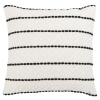 LEOVA - Cuscino in cotone intessuto écru e nero 45x45 cm