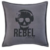 Cuscino in cotone nero stampa bicolore, 45x45 cm Rebel
