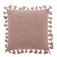 LIMANA - Cuscino in cotone rosa cipria con pompon 50cm x 50cm