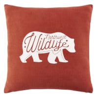 Cuscino in cotone rosso stampa orso, 40x40 cm Sitka