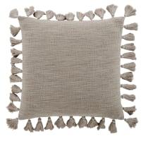 LIMANA - Cuscino in cotone tortora con pompon 50cm x 50cm