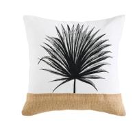 Cuscino in iuta e cotone con stampa foglie, 45x45
