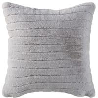 Cuscino in pelliccia ecologica grigio a righe incise, 45x45 cm Mantiqueira