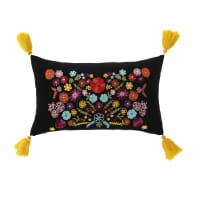Cuscino in velluto nero motivo floreale multicolore e pompon, 30x50 cm Lore