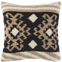 Cuscino kilim écru in lana e cotone motivi grafici, 45x45 cm Azaan
