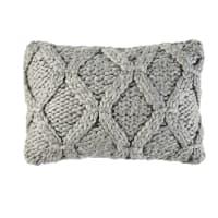 Cuscino lavorato a maglia grigio, 35x50 cm Hygge