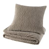 Cuscino piqué grigio in velluto 60 x 60 cm