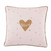 Cuscino rosa in cotone stampato 40x40 cm Lilly