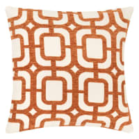 DOSSA - Set of 2 - Cushion Cover with Orange and White Graphic Print 40x40cm