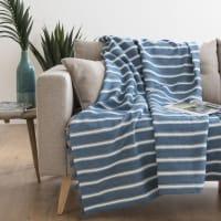 Decke aus Baumwolle, blau und naturweiß 130x170 Corse