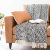 Decke aus Baumwolle, schwarze-weiße 130x160 Makassar