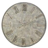 Déco horloge factice en métal gris effet vieilli D160 Flandre