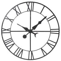 Déco horloge factice en métal noir D130 Alembert