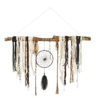 Déco murale attrape-rêve en coton et peuplier 97x100 Apache