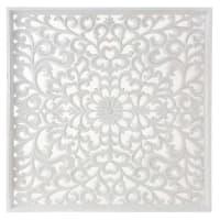 Déco murale blanche sculptée 90x90