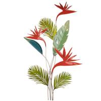 Déco murale branchage en métal vert et rouge 54x89