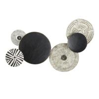 LUANDA - Déco murale disques en métal noir et gris gravé 86x138