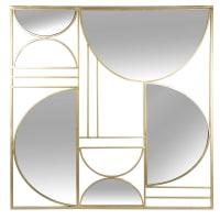 AZZO - Déco murale en métal doré et miroir 80x80