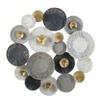 ARIANA - Déco murale en métal gris, blanc et doré 110x110