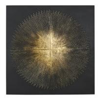 SOLAR - Déco murale en métal noir et reliefs dorés 90x90