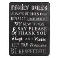 Déco murale en métal noir mat imprimé blanc avec corde 34x45 Family Rules