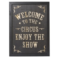 Déco murale en sapin gravé noir 66x90 Circus