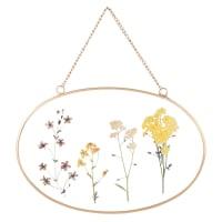 Déco murale en verre imprimé fleurs et métal doré 24x16