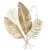 HOLLY - Déco murale feuilles en métal doré 55x67