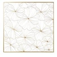 Déco murale filaire fleurs en métal doré 100x100 Camelia