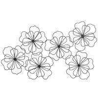 Déco murale fleurs en fil de métal noir 88x51