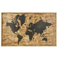 Déco murale imprimé carte du monde en manguier 140x87 Koumbia