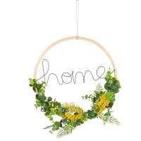 Déco murale mot et couronne feuilles artificielles 30x30 Mimosas