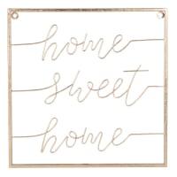 Déco murale mots en métal doré 36x36 Sweet Home