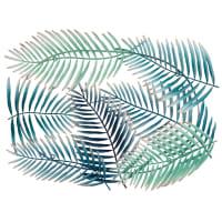 Déco murale palmes en métal bleu 61x81